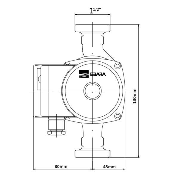 "Ebara Circolatore ""EGO 25/60-130"" Interasse Cm. 130 Monofase"