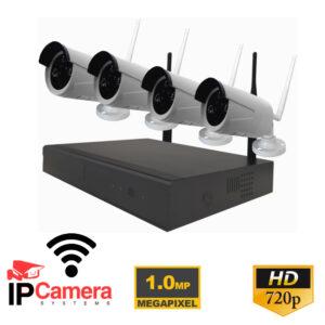 Kit NVR 4 telecamere IP 720p 1MP WIFI