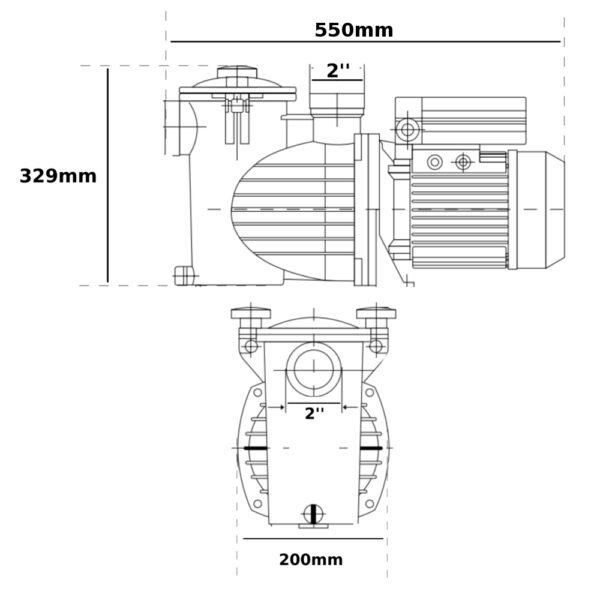 Pompa per piscina 19,5m³/h SWT75M monofase 0,75hp Ebara