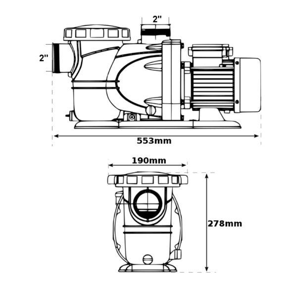 Pompa per piscina 27m³/h XKP1604 da 2,00hp LEO