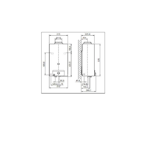 Scaldabagno a gas C14 LOW NOx GPL camera aperta 14 litri