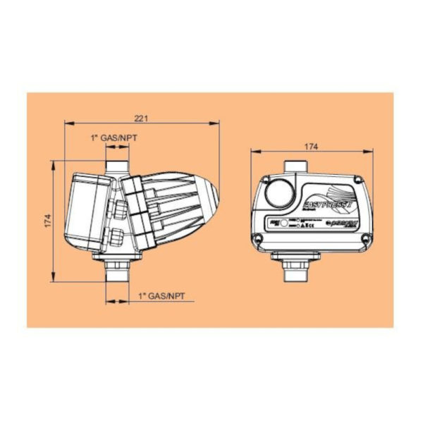 Kit Elettropompa 0.75hp multigirante  EASYPRESS 2,2 bar