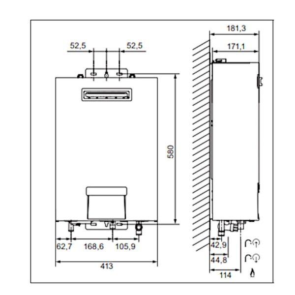 Scaldabagno a gas F 12/1 LR METANO camera stagna 12 litri